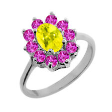 1.45 Ct Oval Canary Mystic Topaz Pink Sapphire 14K White Gold Ring