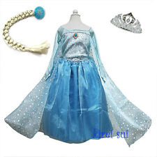 NEW Lovely Girls Frozen Elsa Princess Costume Bling Cape Party Dress 2-10Y