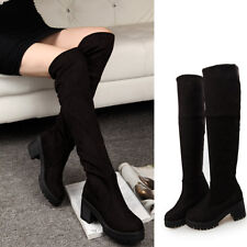 Womens Mid Heels Platform Pull On Cleated Sole Thigh High Over The Knee Boots