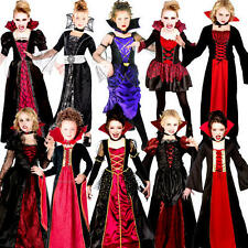 Vampiress Girls Halloween Fancy Dress Vampire Kids Childrens Childs Costume New