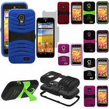 For ZTE Phone Models Rugged Armor Hard Soft Hybrid Stand Phone Case Cover Skin