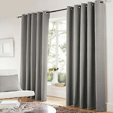 HERRINGBONE Tweed Chenille Style Lined Curtains SILVER GREY Eyelet Ring  66 90