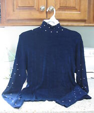 Hobby Horse LDS Charlotte  Western Show Shirt Slinky Midnite Blue Crystals New