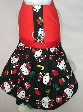 DOG CAT FERRET Custom Harness Dress~HELLO KITTY Santa Candy Cane Festive Outfit