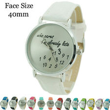 Who Cares Im Already Late Ladies Leather Fashion Watch 40mm - Funny Comment