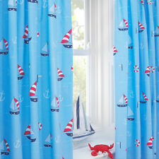 Nautical Blue Sailing Boat Anchor Boys Pencil Pleat Lined Curtains EXCLUSIVE