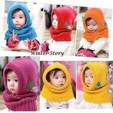 Winter Beanie Kids Boy Girl Warm Hats Hooded Scarf Earflap Knitted Cap Baby Gift