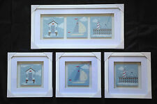 Nautical Seashore White Box Frame Pictures Boat Beach Hut Pier Fun Fair Bathroom