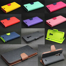 Dual Color Deluxe Wallet Leather Flip TPU Case Cover Stand For LG G FLEX F340