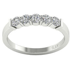 Five Stone Engagement Ring Band SI1/G 0.75Ct Real Diamond White Gold Appraisal