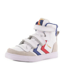 BOYS HUMMEL STADIL JR LEATHER HIGH WHITE BLUE RED HI TOP TRAINERS SHOES SIZE