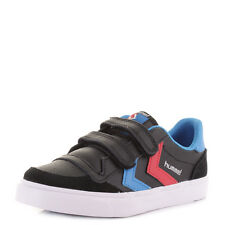 BOYS KIDS HUMMEL STADIL JR LOW LEATHER BLACK BLUE RED VELCRO TRAINERS SHOES SIZE