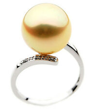 GR007 (AAA 11mm Australian Golden  South Sea Pearl Diamond Ring Gold)