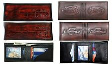 Chevrolet Ford Emblem or Car Design Brown Leather Trifold or Singlefold Wallet
