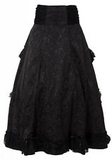 Victorian Gothic Steampunk Tiered Long Skirt Lace Bustle Look Ruffles Adjustable