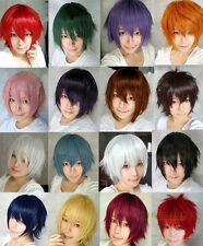 15 Color Fashion Unisex Men Short hair Cosplay Party Causal Straight Full Wigs
