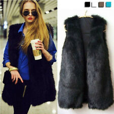 Women Lady Faux Fur Body Warmer Vest Waistcoat Gilet Sleeveless Jacket Outwear