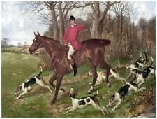 8905.Man on horse with hunting dogs.POSTER.art wall decor graphic art
