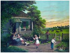 8940.Small family gathered in small cottage.field.POSTER.decor Home Office art