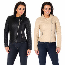 AI85 Ladies Cropped Biker Jacket Womens Faux Leather Zip Side Pocket Coat Top