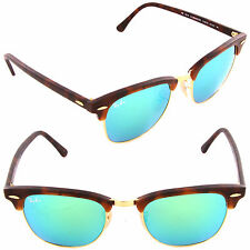 Ray-Ban RB 3016 1145/19 Clubmaster Sand Havana / Grey Mirror Green Lens