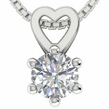 I1/G 0.70Ct Round Cut Diamond Jewelry 14Kt Solid Gold Solitaire Pendant Necklace