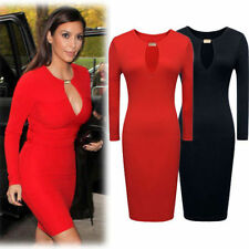 Womens Sexy Boutique Celeb Long Sleeve Cut Out Pencil Bodycon Formal Party Dress