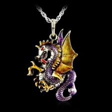 Dragon Necklace Pendant Jewelry Antique Retro Fire Sweater Chain Crystal Gifts