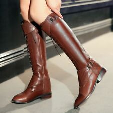Womens genuine Leather Lace Up Flat Buckle Punk Riding Knee High Boots plus size