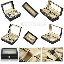 Leather Grid Watch Jewelry Display Storage Box Cases Bracelet Organiser Tray UK