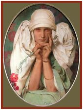 9467.Woman with white sheet on head.flowers in hand.POSTER.decor Home Office art