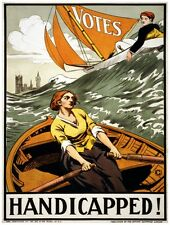 9493.Handicapped!.woman and man in boat.rough water.POSTER.decor Home Office art