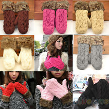 Womens Girls Mitten Knitting Wool Fur Halter Wrist Winter Warm Gloves Clearance