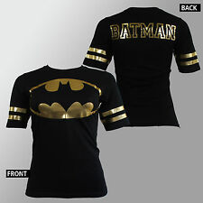 Authentic BATMAN All Gold Foil Jersey Girl Juniors T-Shirt S M L XL NEW