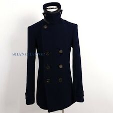 Men Double Breasted Peacoat Coat Trench Jacket Outerwear Slim Winter Military