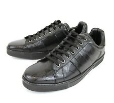 New Authentic Gucci Mens Black GG Imprime Lace-up Trainer Sneaker, 227988 1000