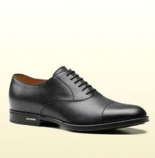 New Authentic Gucci Mens Black Leather Dress Shoes Oxford w/Logo, 322474 1000