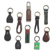 Polo by Ralph Lauren Mens Womens Keychain Key Fob Leather Brass Silver