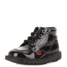 KICKERS KICK HI INFANT GIRLS BLACK PATENT CASUAL LACE UP LEATHER BOOTS SHOE SIZE