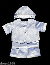Boy  Infant Toddler White Christening/ Baptism Outfit Set ,Sz:X-Small to 4T
