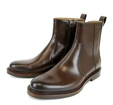 $850 New Authentic Gucci Mens Leather Boot w/Script, Brown, 322301 2140