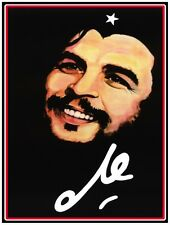 9674.Image of che chevara smiling.name handwritten.POSTER.decor Home Office art