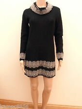 M&S Per Una Black Mohair Blend Cowl Neck Gold Lace Jumper Dress Sz UK 10