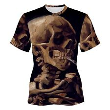 Van Gogh Skull With a Burning Cigarette Sublimation Woman's T-Shirt S,M,L,XL,2XL