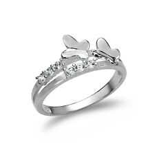 Sterling Silver Split Band Ring with CZ Crystal & Butterflies / UK Size J-U