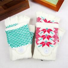 1 Pair Womens Winter Warm Flip Fingerless/Full Finger Gloves Mittens Gloves B70