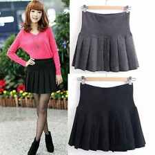 Women Girls Winter Wool Pleated Mini Skirt School Uniform Short Skirt 2 Colors
