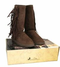 Montana West Boots Womens Western Fringe Collection Winter Shoes Lacing Coffee
