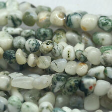Natural Genuine Green White Milky Tree Agate Nugget Loose Beads Free Form 16""