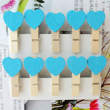 100 pcs Mini Hearts Wooden Pegs Photo Clips Wedding Party Room Decor Craft Gifts